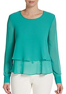 Ellen Tracy Woven Tiered Blouse