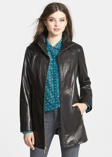 Ellen Tracy Zip Front Leather Walking Coat