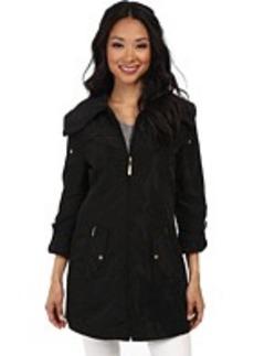 Ellen Tracy Zip Front Packable Rain Aline w/ Convertible Sleeves