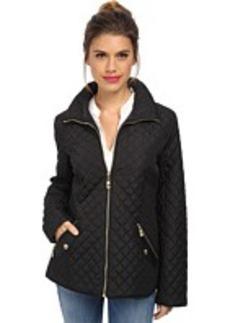 Ellen Tracy Zip Front Quilted Scuba Jacket