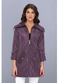 Ellen Tracy Zip Front Swing Packable Rain Coat
