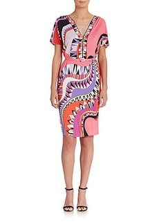 Emilio Pucci Belted Abstract-Print Dress