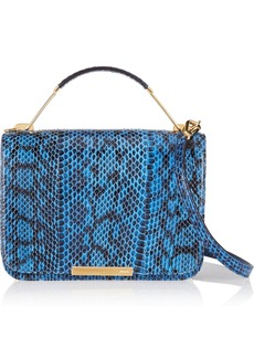 Emilio Pucci Canvas-trimmed elaphe shoulder bag