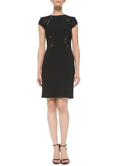 Emilio Pucci Cap-Sleeve Sheer Lace-Insert Dress, Nero (Black)
