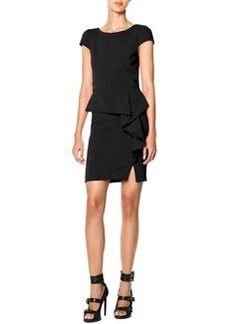 Emilio Pucci Cap-Sleeve Side-Cascade Ruffle Sheath Dress, Nero (Black)