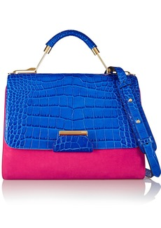 Emilio Pucci Color-block croc-effect leather and suede shoulder bag