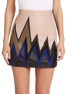 Emilio Pucci Colorblock Bolt Suede & Leather Skirt