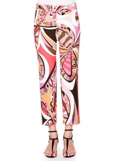 Emilio Pucci Cropped Flat-Front Printed Pants