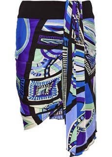 Emilio Pucci Draped printed satin-jersey skirt