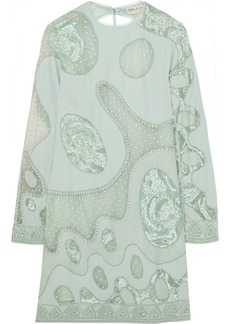 Emilio Pucci Embellished crepe and suede mini dress
