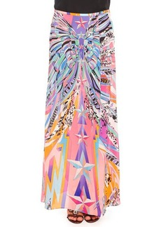 Emilio Pucci Feather-Print Double-Georgette Slit Long Skirt