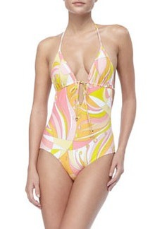Emilio Pucci Fenice-Print Tie Swimsuit