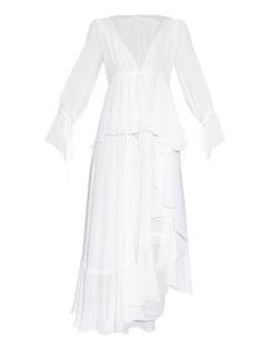 Emilio Pucci Fluted-skirt silk-georgette dress