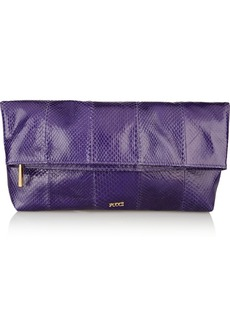 Emilio Pucci Fold-over snakeskin leather clutch