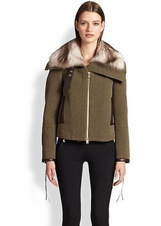 Emilio Pucci Fur-Collar Tweed & Leather Jacket