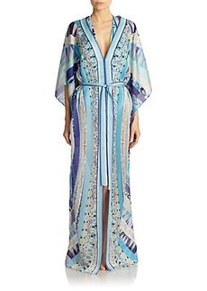 Emilio Pucci Geometric-Patterned Silk Caftan