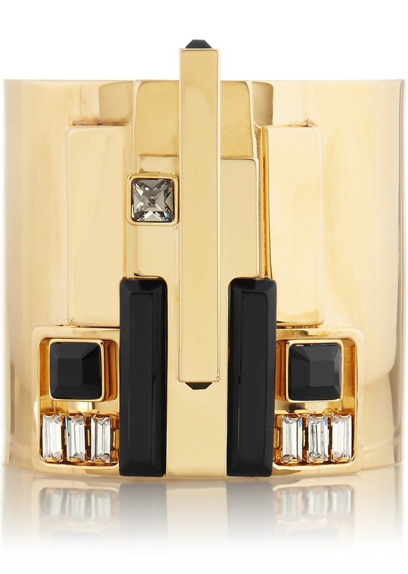 Emilio Pucci Gold-tone, crystal and resin cuff