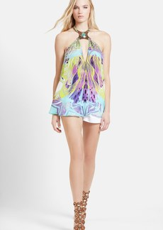 Emilio Pucci Hardware Detail Print Silk Chiffon T-Back Top