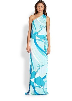 Emilio Pucci Iconic Print One-Shoulder Maxi Dress