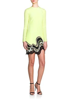 Emilio Pucci Lace & Silk Wave-Hem Dress