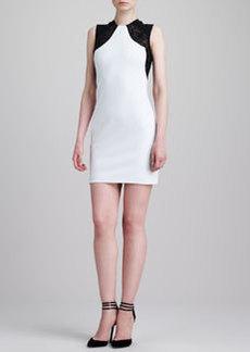 Emilio Pucci Lace-Shoulder Sleeveless Sheath Dress, White/Black