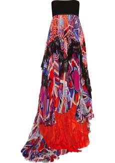 Emilio Pucci Lace-trimmed printed silk-blend chiffon dress