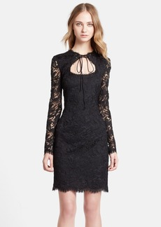 Emilio Pucci Lace-Up Keyhole Lace Sheath Dress