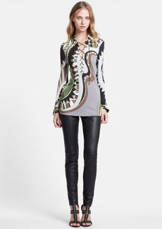 Emilio Pucci Lace-Up Neck Print Jersey Shirt