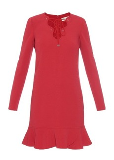 Emilio Pucci Lace-up ruffle-hem cady dress