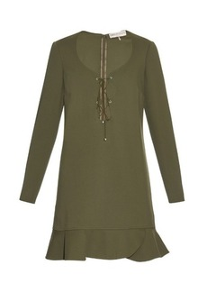 Emilio Pucci Lace-up ruffle-hem jersey mini dress