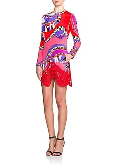 Emilio Pucci Lace Wave-Hem Dress