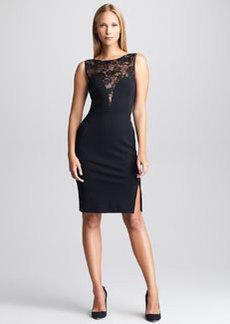 Emilio Pucci Lace-Yoke Sheath Dress, Black