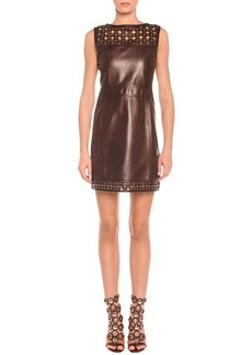 Emilio Pucci Laser-Cut Leather Sheath Dress