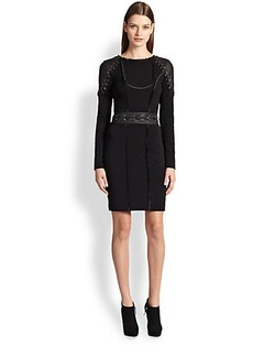 Emilio Pucci Leather & Jersey Lace-Up Detail Dress