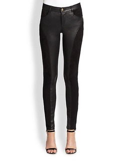Emilio Pucci Leather Contrast Moto Leggings