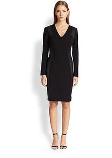 Emilio Pucci Leather-Inset Sheath Dress