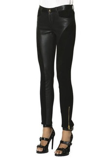 Emilio Pucci Leather Panel Zip Ankle Leggings, Nero (Black)