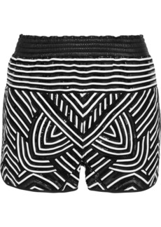 Emilio Pucci Leather-paneled mesh shorts