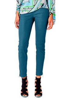 Emilio Pucci Leather Zip Skinny Pants