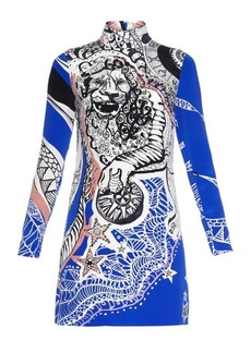 Emilio Pucci Lion-print high-neck silk dress