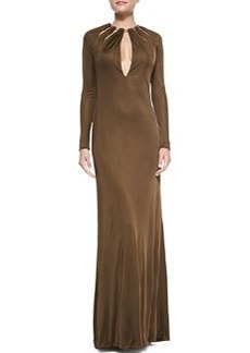 Emilio Pucci Long-Sleeve Chain-Collared Satin Gown, Brown