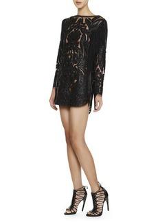 Emilio Pucci Long-Sleeve Leather & Lace Fringe Dress