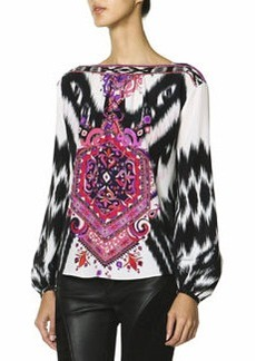 Emilio Pucci Long-Sleeve Mosaic-Print Silk Top, Multicolor