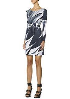 Emilio Pucci Long-Sleeve Printed T-Shirt Dress, Black/White