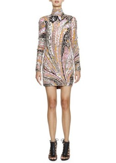 Emilio Pucci Long-Sleeve Studded Printed Sheath Dress, Pink/Multi