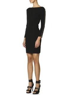 Emilio Pucci Long-Sleeve Zipper-Trim Sheath Dress, Nero (Black)