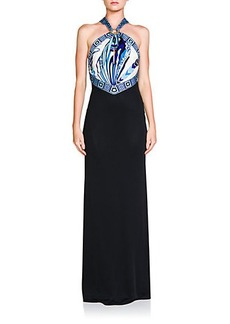 Emilio Pucci Mixed-Media Halter Dress