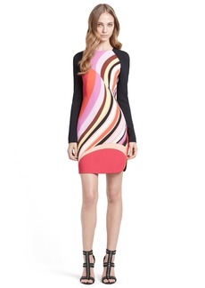 Emilio Pucci Onyx Print Long Sleeve Cady Dress