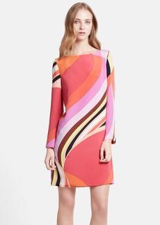 Emilio Pucci Onyx Print Silk Cady Shift Dress