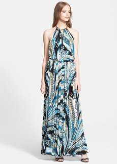 Emilio Pucci Print Halter Jersey Gown
